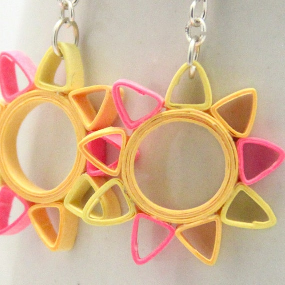 Save 40% Neon Star Earrings Eco Friendly Earrings Nine Pointed Star Paper Quilled hypoallergenic