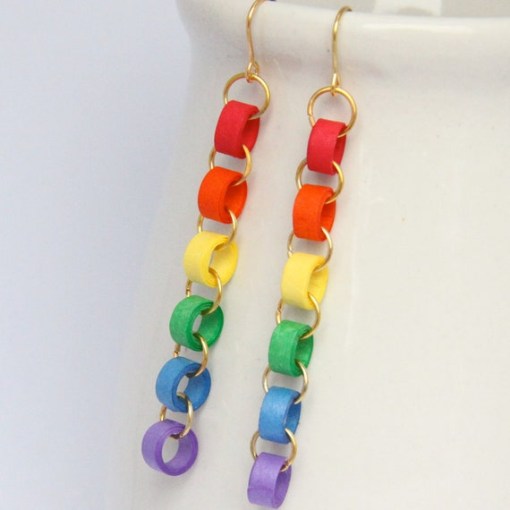 CLEARANCE Rainbow Chain Earrings with Paper Quilled Beads Eco Friendly Jewelry, Artisan Jewelry