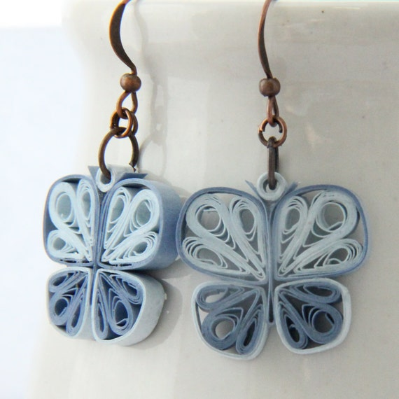 Small Blue Earrings: Little Blue Butterflies Earrings Paper Quilled Handmade