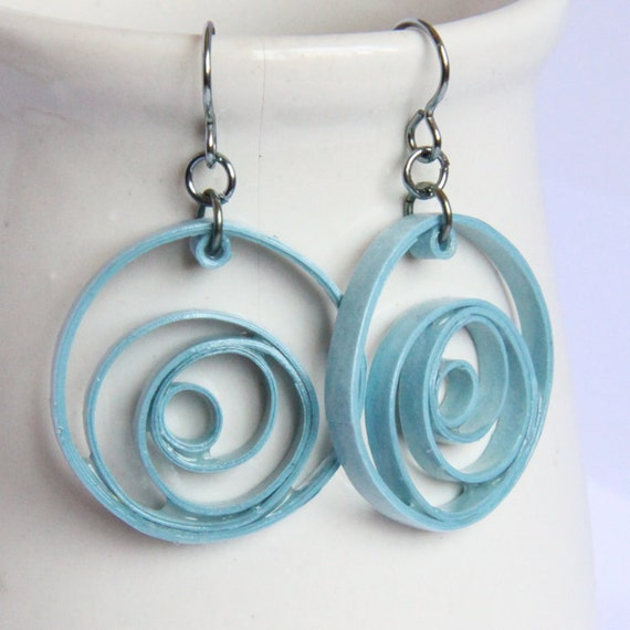 Eco Friendly Earrings Blue Circles Unique Handmade by Paper Quilling Light Sky Blue hypoallergenic