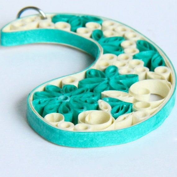 Paisley Pendant Aqua and Ivory Handmade by Paper Quilling on niobium jumpring OOAK