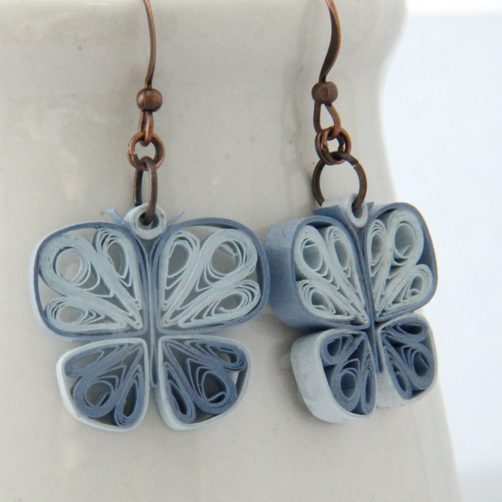 Small Blue Earrings: Little Blue Butterflies Earrings Paper Quilled By HoneysHive