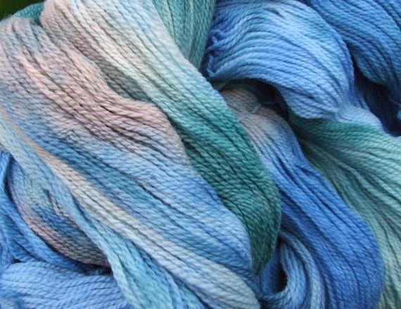 STORMY WATERS 100g Hand Dyed Merino Sport Knitting Yarn