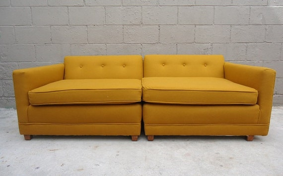 RESERVED LISTING for Macbean5- Upcycled Convertible Mid Century Yellow Wool Loveseat Sofa or Club Chairs