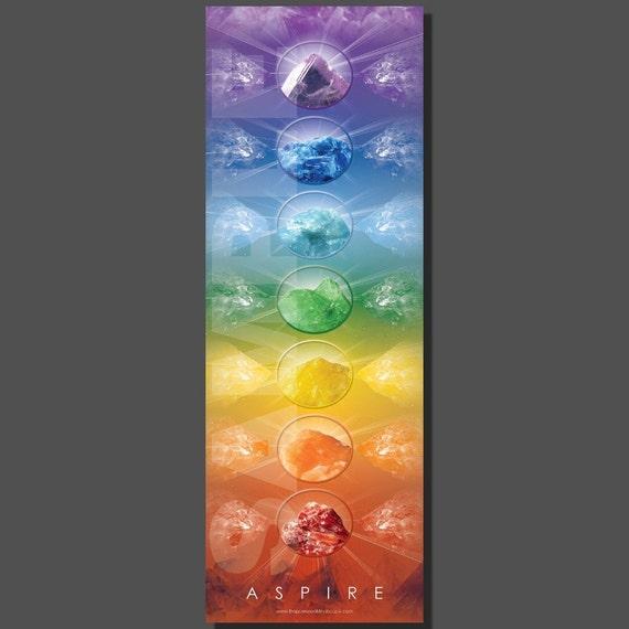 Chakra Poster Crystal,  instant restorative uplift, crystal reiki energy