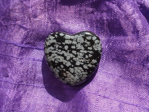 Polished Snowflake Obsidian Heart peace-giving
