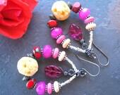 SALE Bohemian Hoop Earrings, Pink Earrings, Shabby Chic, Boho Chic Earrings, Boho Jewelry