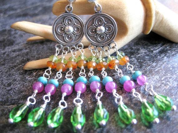 SALE Bohemian Chandelier Earrings, Sterling, Colorful Earrings, Gypsy Earrings