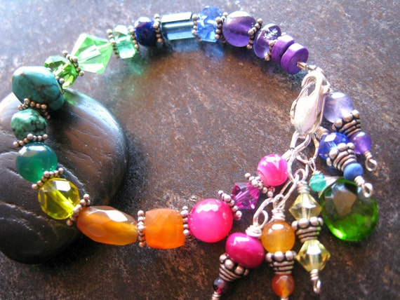 RESERVED Rainbow Bracelet, Chakra Bracelet, Sterling, Healing Jewelry, Colorful Jewelry