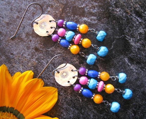 SALE Colorful Hippie Earrings, Chandelier Earrings, Cute Earrings, Turquoise Earrings, Colorful Jewelry