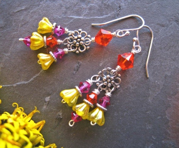 Boho Chandelier Earrings, Colorful Bright Happy Whimsical Earrings, Colorful Jewelry