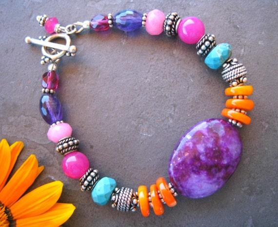 Colorful Gemstone Bracelet, Bohemian Beaded Bracelet, Boho Jewelry