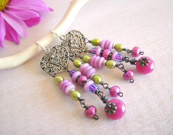 Magenta Bohemian Earrings, Chandelier Earrings, Bohemian Jewelry, Romantic Shabby Chic