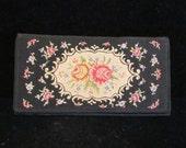 1930's Clutch Purse Petit Point Purse Floral Purse Vintage Purse Wallet Style Purse West German Purse
