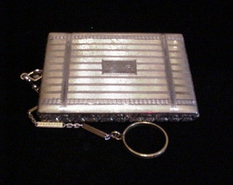 1910 Compact Purse Powder Compact Vintage Compact Dance Purse Finger Ring Compact Mirror Compact Rouge Compact Silver Antique Compact Purse