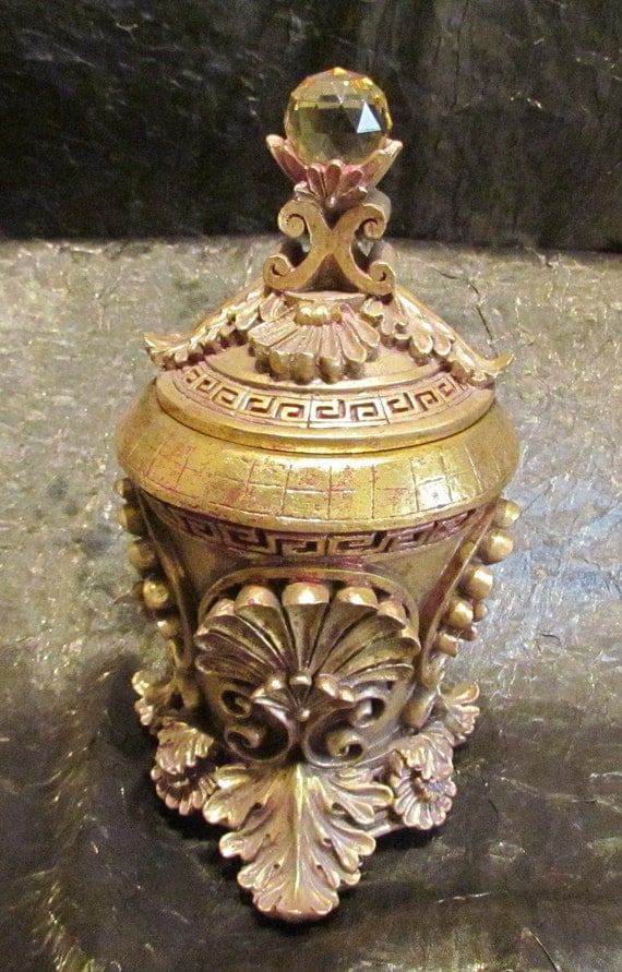 Vintage Powder Jar Powder Box Gold Compote Vintage Jar Vintage Powder Box Jeweled Lid