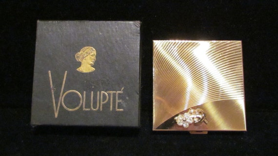 1950's Compact Volupte Compact Gold Compact Rhinestone Compact Mirror Compact Powder Compact Art Deco Compact Vintage Compact Boxed