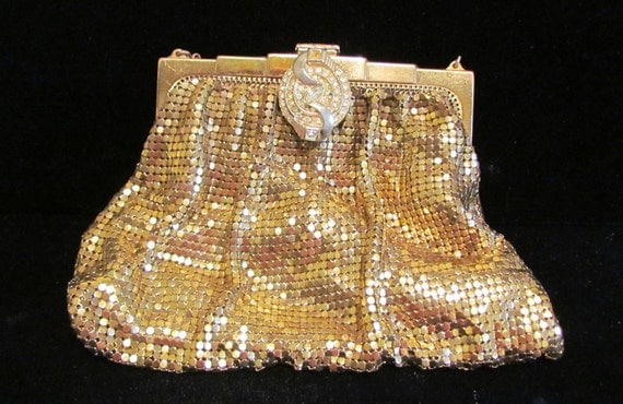 Vintage Purse Whiting And Davis Gold Mesh Handbag 1930s Rhinestone Clasp Wedding Purse Formal Purse
