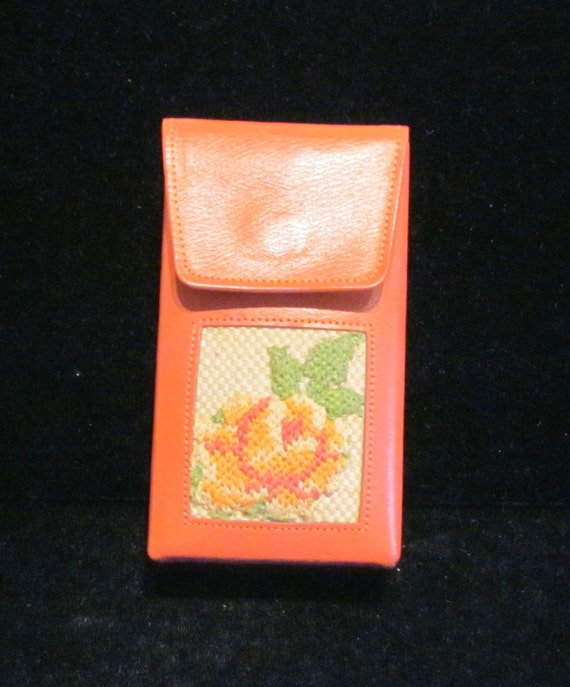 1960s Cigarette Case Princess Gardner Cigarette Holder Leather Case Needlepoint Case Vintage Cigarette Case GREAT CONDITION