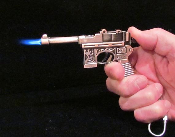 Steampunk Gun Lighter Keychain Pistol Lighter Handmade OOAK Keychain Beaded Keychain Lighter WORKING LIGHTER