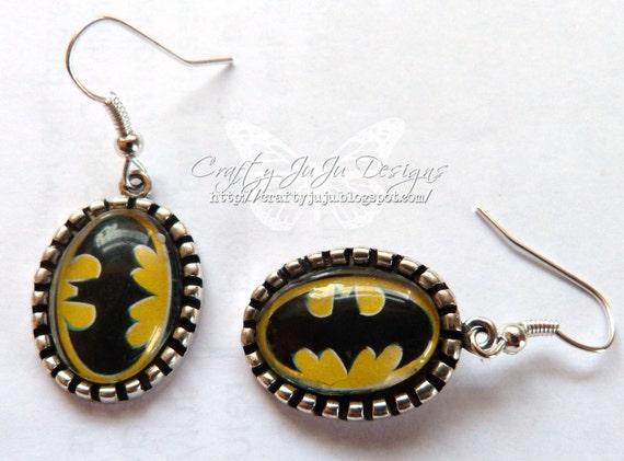 Batman Logo Glass Tile Earrigns