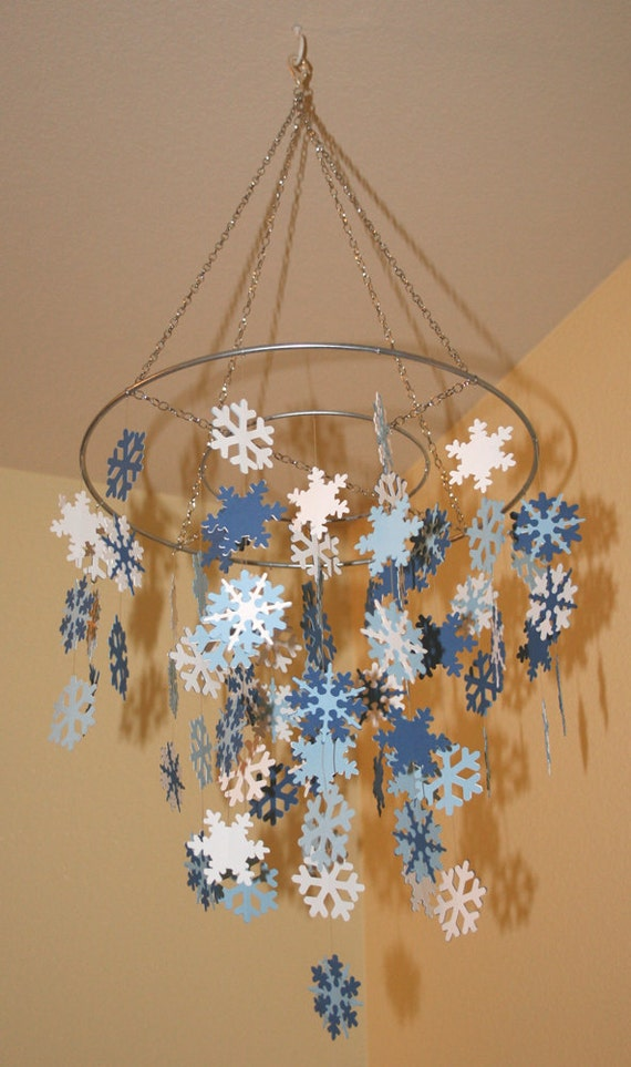 Items Similar To Fluttering Snowflake Mobile 12 Quot Ring On