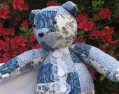 Blue Patchwork Bear With Lace and Ribbon Roses