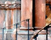 FADED PRAYER - stairway to an old church in orange, peach, aqua, slate gray. Wrought iron and pillars.  Shabby chic art 8x12, 8x10, 11x14.