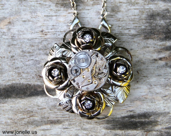 Steampunk Necklace - Gothic Rose - upcycled vintage rhinstone brooch and antique clockwork. Victorian Gothic Steampunk jewelry. OOAK.