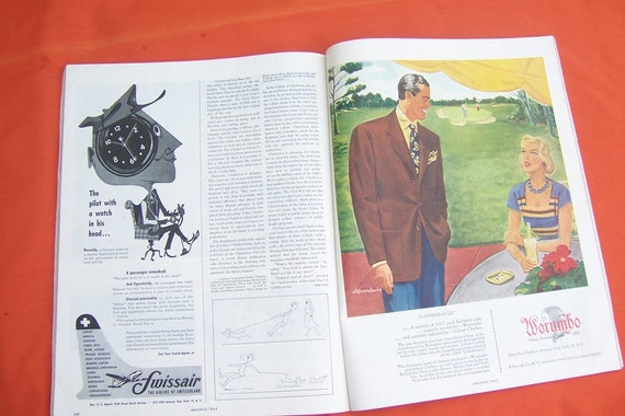 Vintage Holiday Magazine, Horses edition 1949, with retro advertising about holidays, travel and vacations.