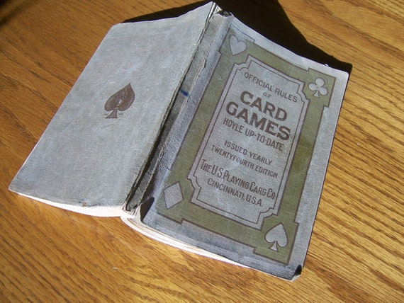 Vintage game book, Official Rules of Card Games, boys, girls, men, women, children learn how to play, antique gray home & living decor