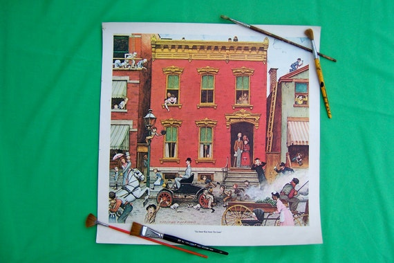 """Vintage Norman Rockwell Art Print """"The Street Was Never The Same"""" Ford Motor Inc. 50th Anniversary. For men or women, office or home decor."""