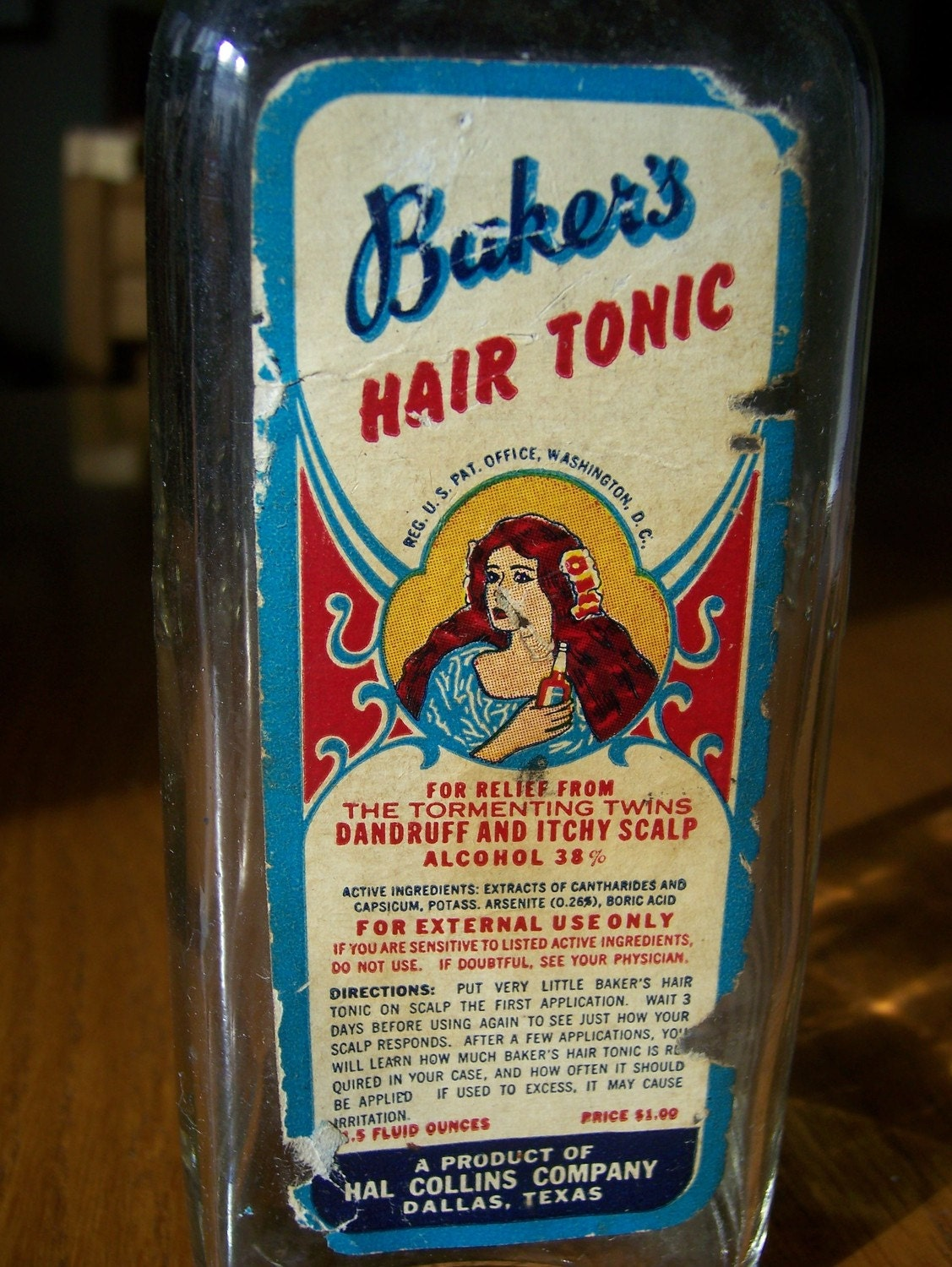 Vintage Bakers Hair Tonic Bottle Fun Gift For Hair Stylist