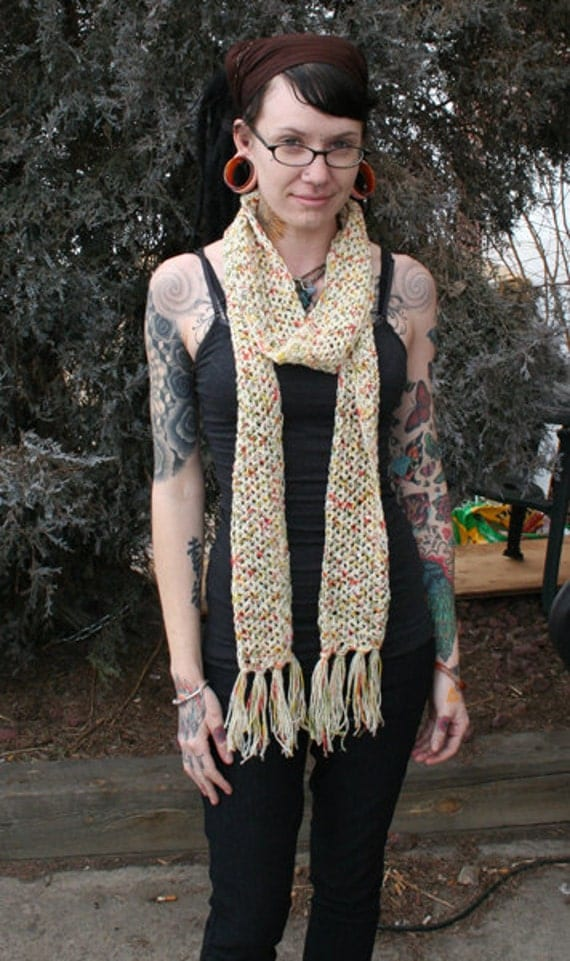Yellow Green Red Off-White Crochet Wool Scarf