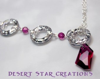 Statement Necklace Swarovski Crystal Cosmic Rings and Fuchsia Pendant