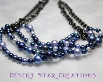 Blues and Grays Pearl and Chain Necklace