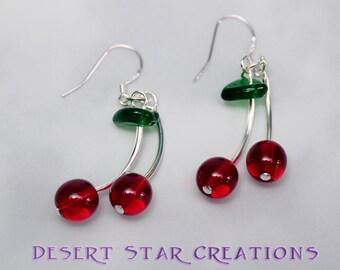 Red Cherry Earrings with Green Leaf  Silver Stems Rock n Roll Girl Earrings