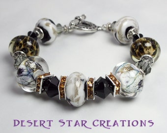 Black White Gold Boro Glass and Crystal Beaded Bracelet