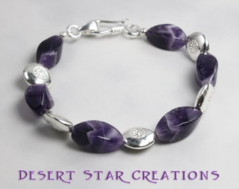 Chevron Amethyst Gemstone and Silver Bracelet
