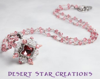 Crystal Rose Peach Beaded Necklace with Stitched Rivoli Pendant