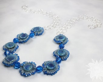 Blue Beaded Silver Circle Chain Necklace Cobalt Capri Glass Yoyo Lampwork Spiral Stitch