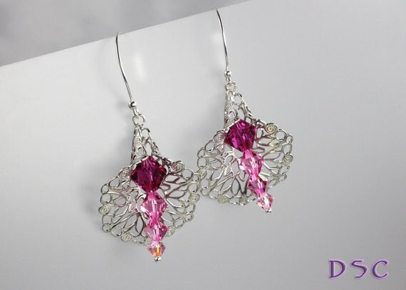 Bell Flower Lace Filigree Swarovski Crystal Drop Earrings Pink Fade Color Choice