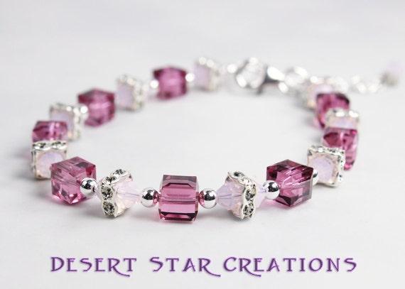 Swarovski Crystal Cube Bracelet Pink and Rose Opal Tennis Bracelet