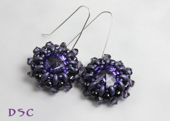 Crystal Beaded Earrings Stitched Rivoli Tanzanite and Purple Bead