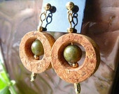 Green Goddess Wine Cork Earrings