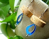 Blue Half Moon Wine Cork Slice Earrings