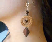 Silver and Chocolate Brown Wine Cork Earrings