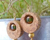Celtic Green N Gold Wine Cork Earrings