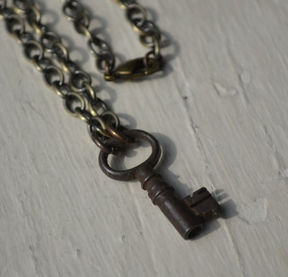 vintage skeleton key brass necklace - Key to my heart