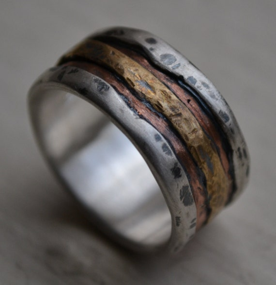 Reserved For Stacey Mens Wedding Band Rustic Fine Silver